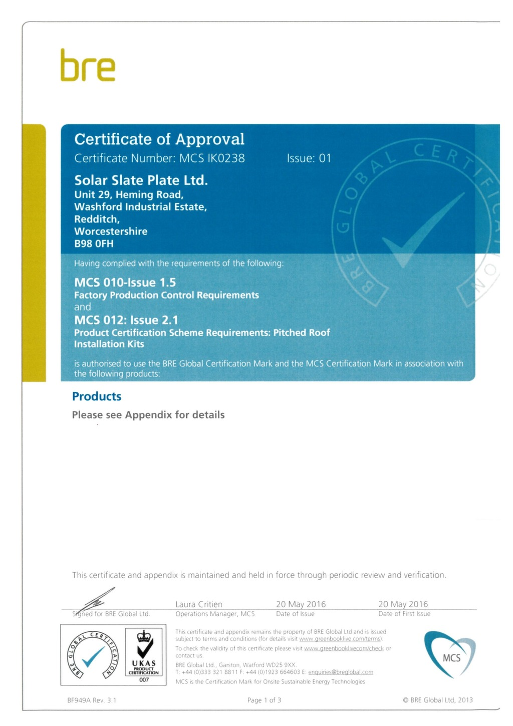 MCS Certificate of approval